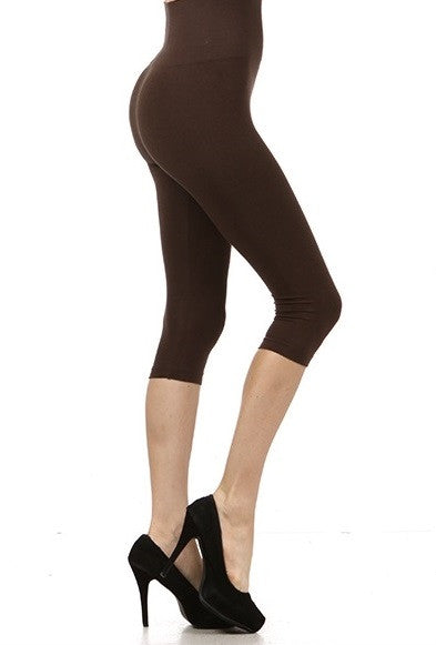 0f672392410b M. Rena Tummy Tuck Capri Leggings in Dark Brown – Adorn