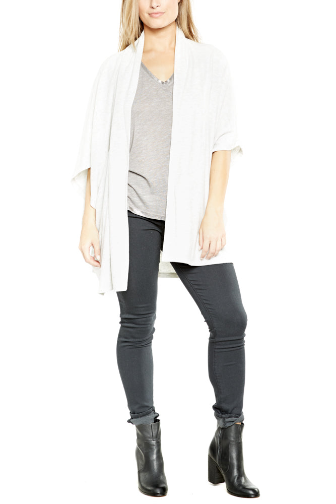 cupcakes and cashmere Bregan Poncho in Heather Ash