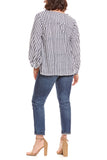 Curation by EMERSON FRY Bardot Top in Charcoal Stripe