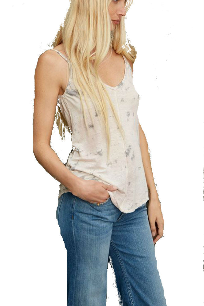 Velvet by Graham & Spencer Daffodil Linen Knit Tank in Tie Dye
