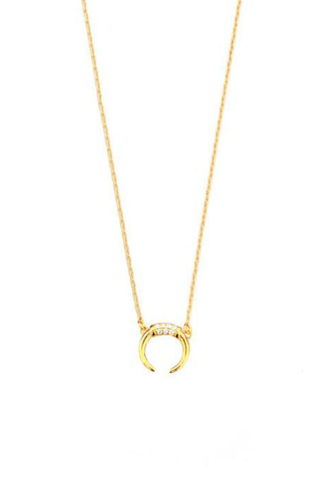 TAI Double Horn Charm Necklace with CZ