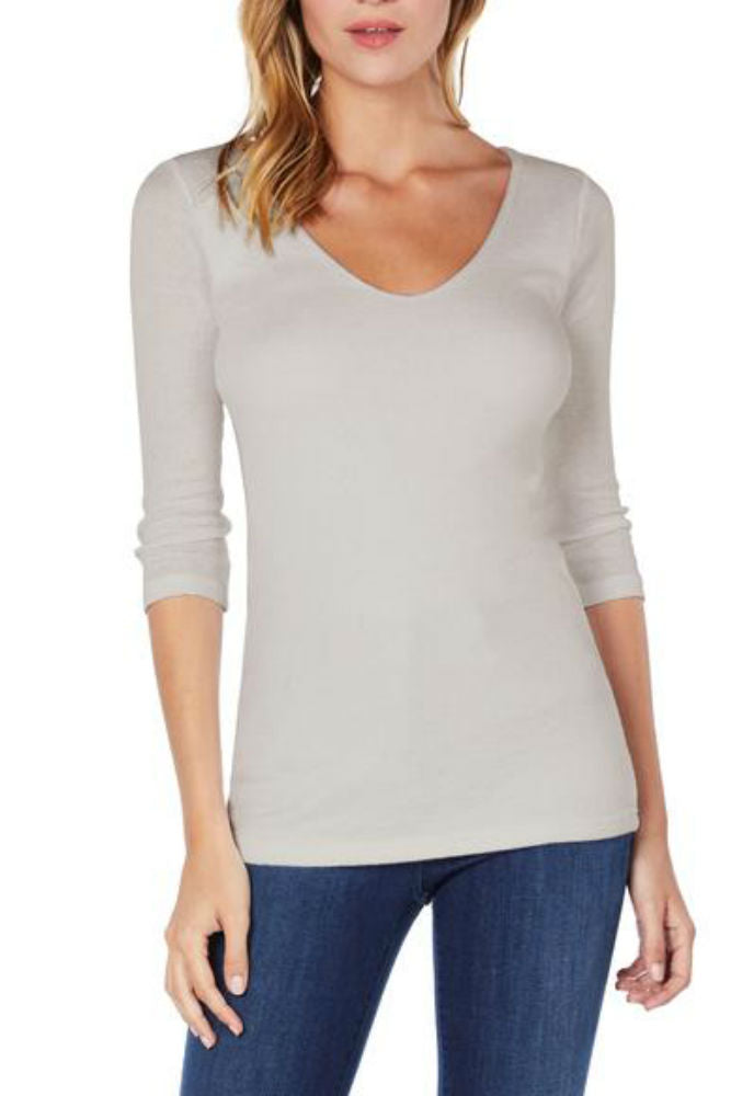 Michael Stars Shine 3/4 Sleeve Double V-Neck Abalone