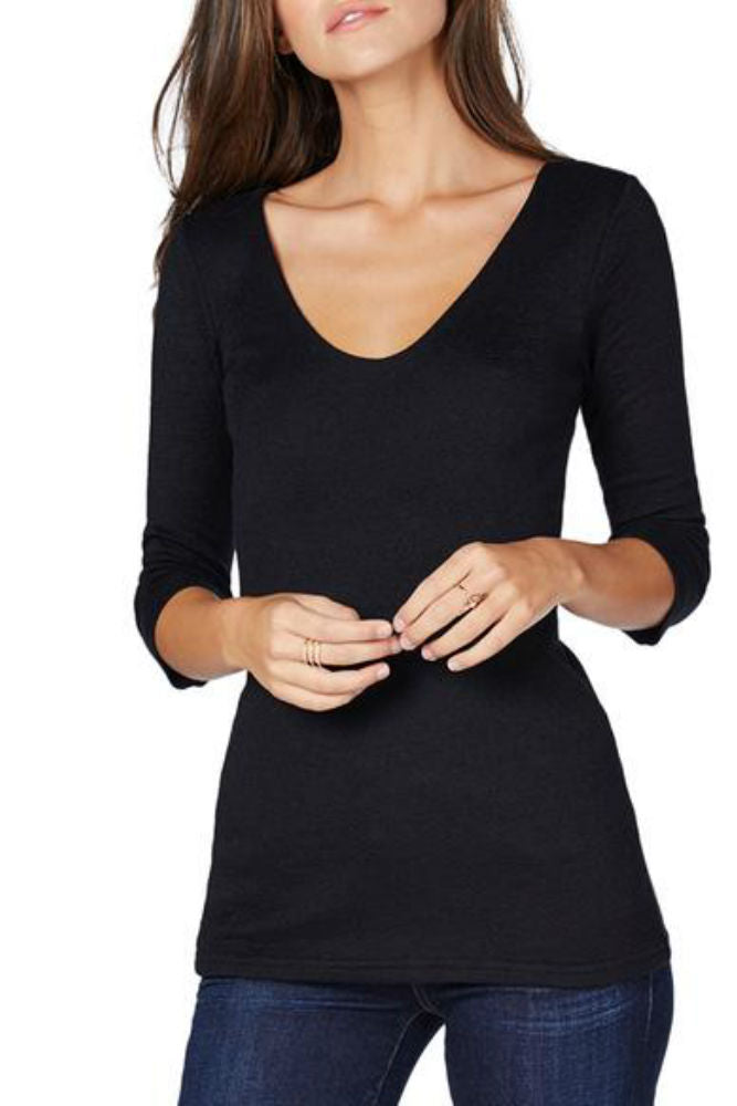 Michael Stars Shine 3/4 Sleeve Double V-Neck Black