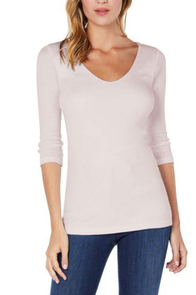 Michael Stars Shine 3/4 Sleeve Double V-Neck Whisper