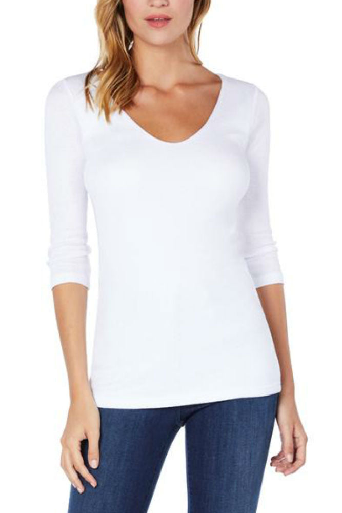 Michael Stars Shine 3/4 Sleeve Double V-Neck White