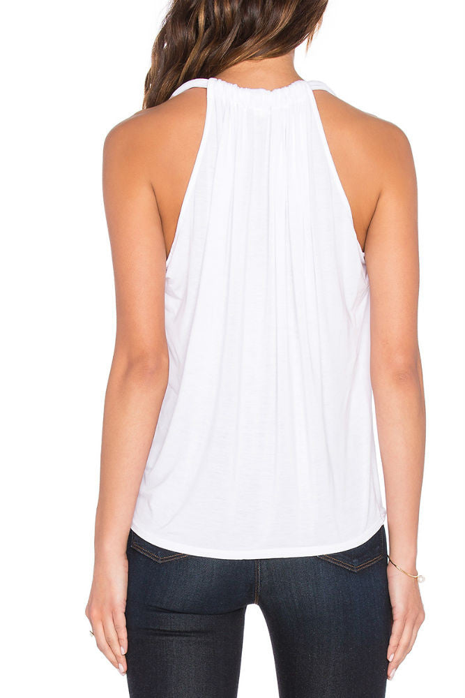 Michael Stars Sleeveless Draped Halter in White