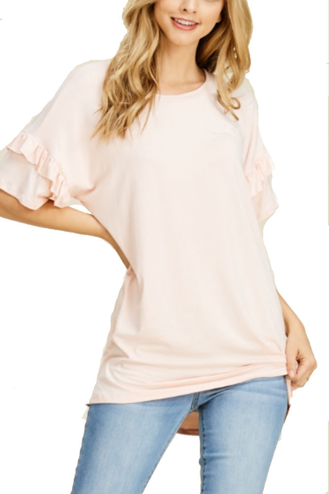 Reb & J. Drop Shoulder Ruffle Sleeve Tunic