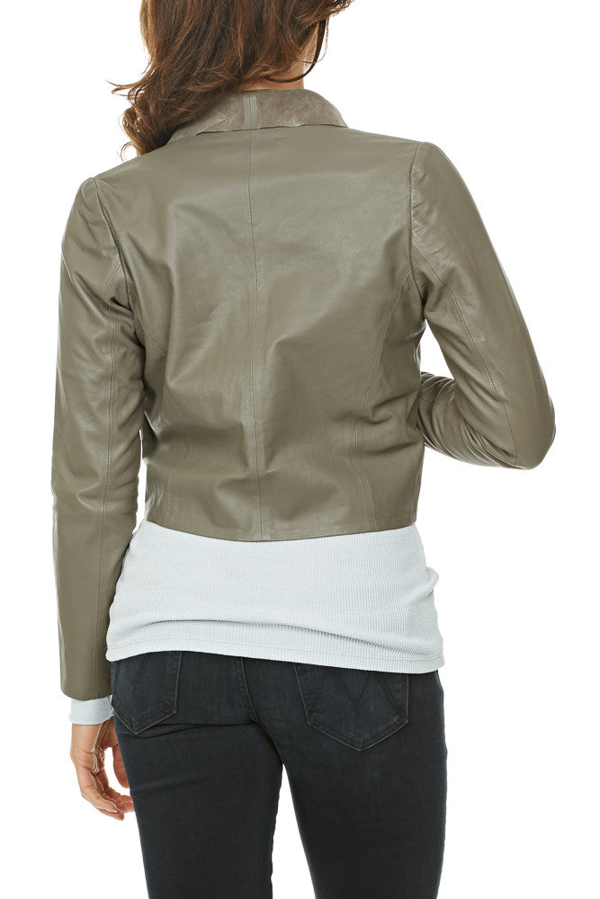 Elk Fine Leather Jacket in Stone