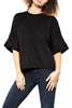 Elk Wide Knit Sleeve Sweater in Black