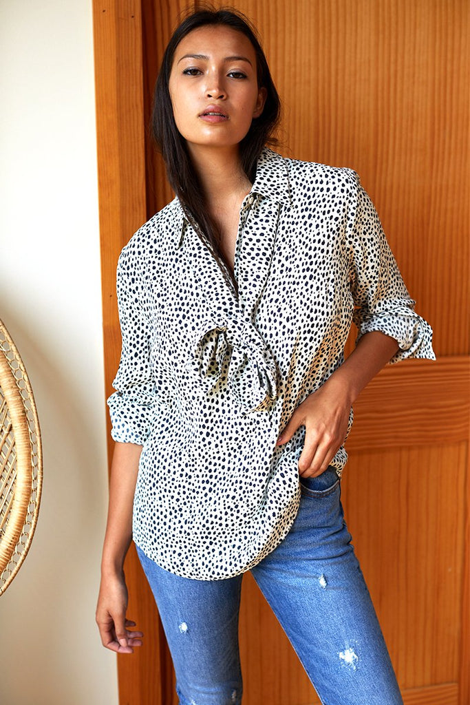 EMERSON FRY Ribbons Blouse Black and white cheetah