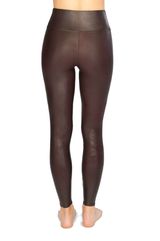 SPANX Faux Leather Leggings in Wine