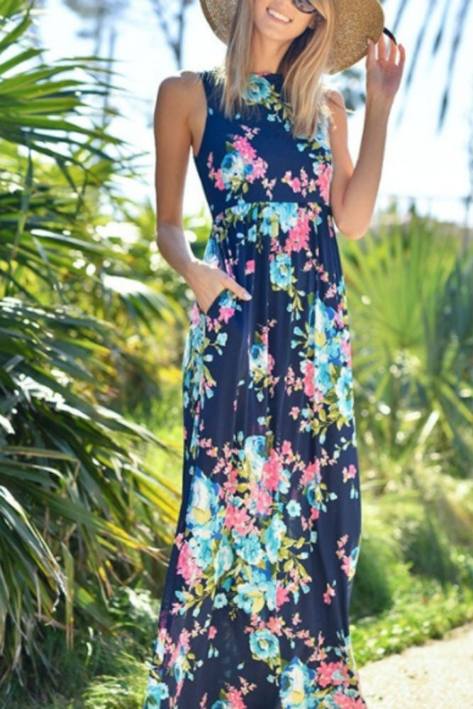 Wanna B Sleeveless Floral Print Maxi Dress in Navy