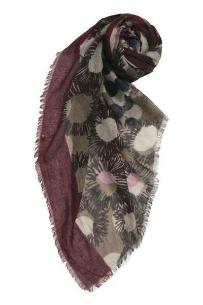 Subtle Luxury Flower & Dots Scarf in Maroon