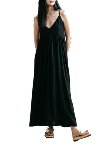 LACAUSA Pleated Factory Dress in Midnight