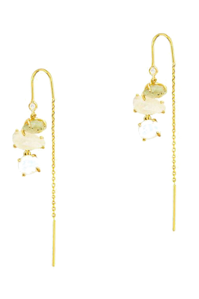 TAI Gold Three Stone Threader Earrings