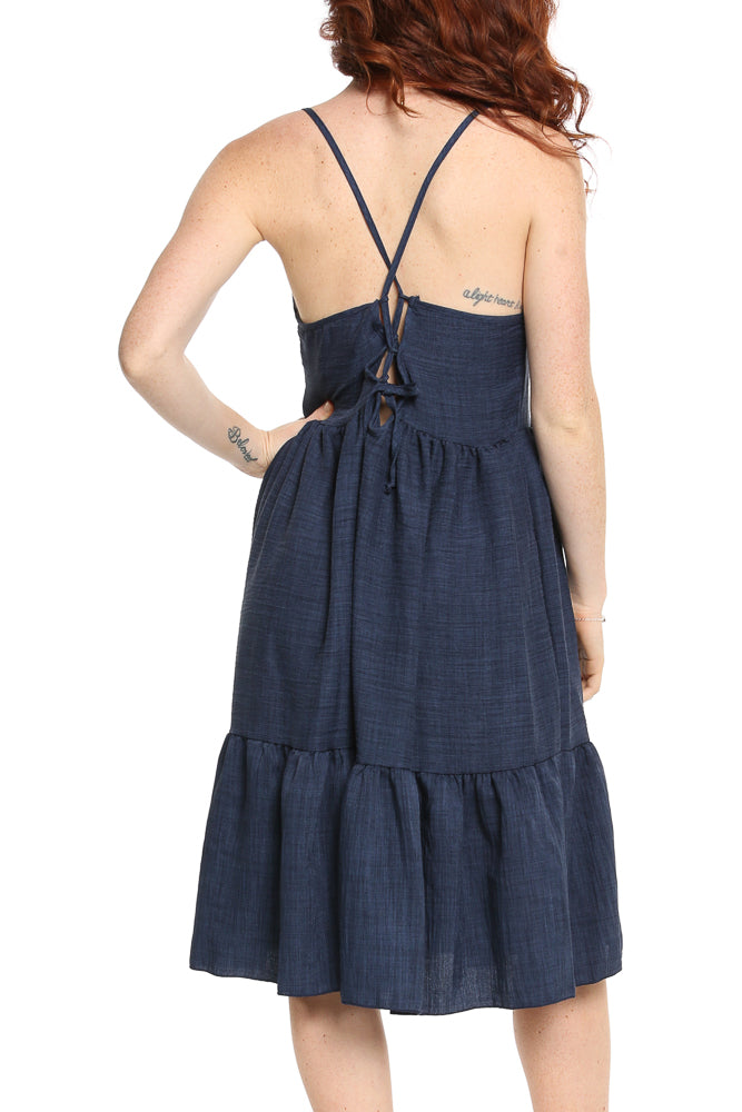 Hailey & Co Tie Back Sun Dress in Navy