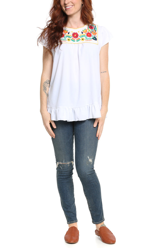 Hailey & Co Embroidered Flutter Sleeve Top - FINAL SALE