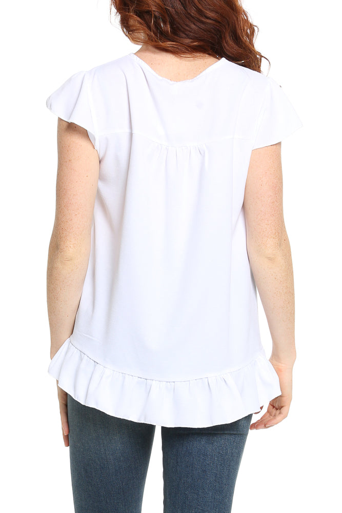 Hailey & Co Embroidered Flutter Sleeve Top