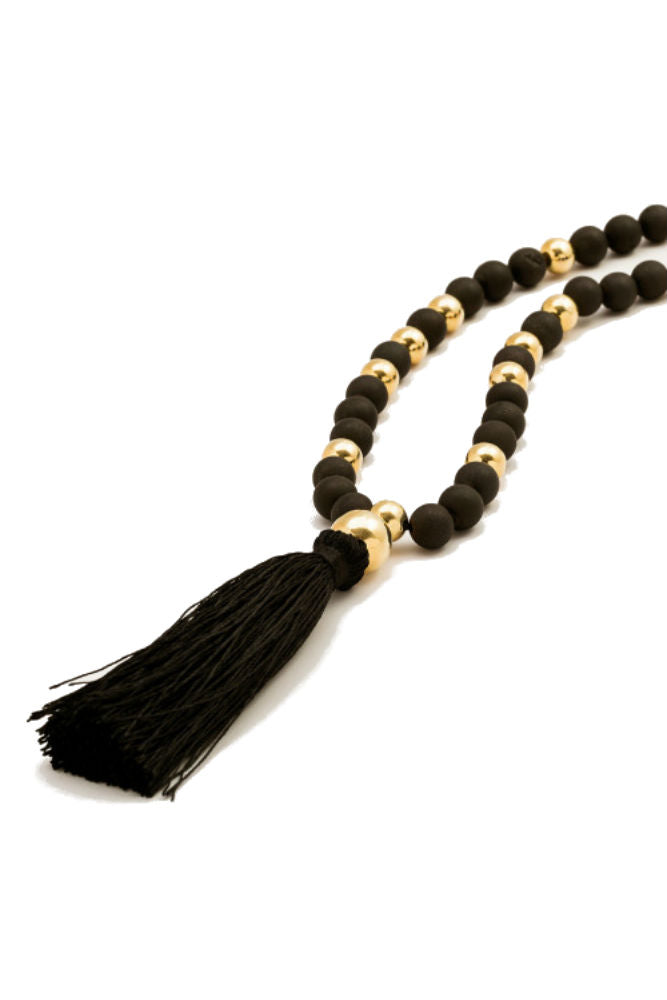 Gorjana Hannah Druzy Tassel Long Necklace Dark Grey