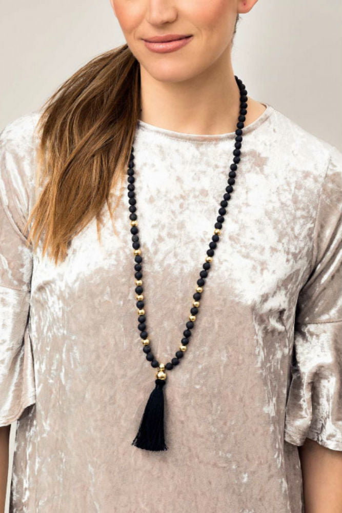 Gorjana Hannah Druzy Tassel Long Necklace