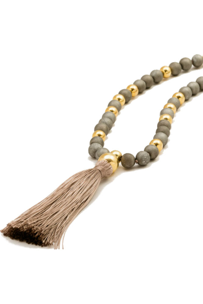 Gorjana Hannah Druzy Tassel Long Necklace Light Grey
