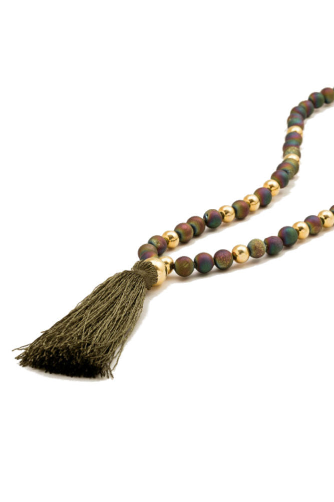 Gorjana Hannah Druzy Tassel Long Necklace Moon