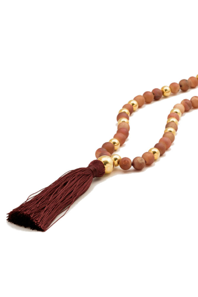 Gorjana Hannah Druzy Tassel Long Necklace Nude
