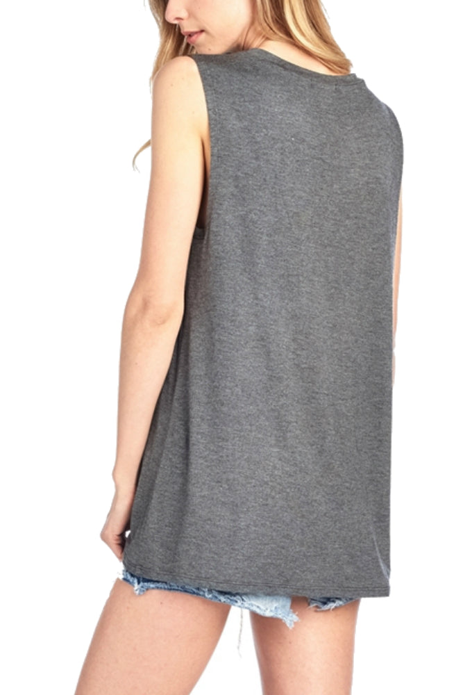 ZUTTER Happy Camper Muscle Tee in Charcoal