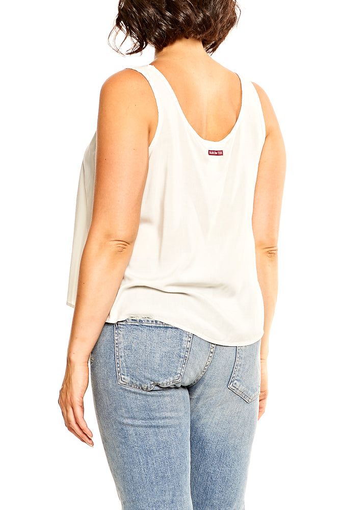 Hard Tail Crop Tank in Linen