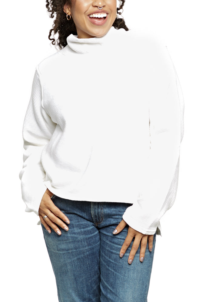 Hard Tail Cowl Neck Pullover in Cream