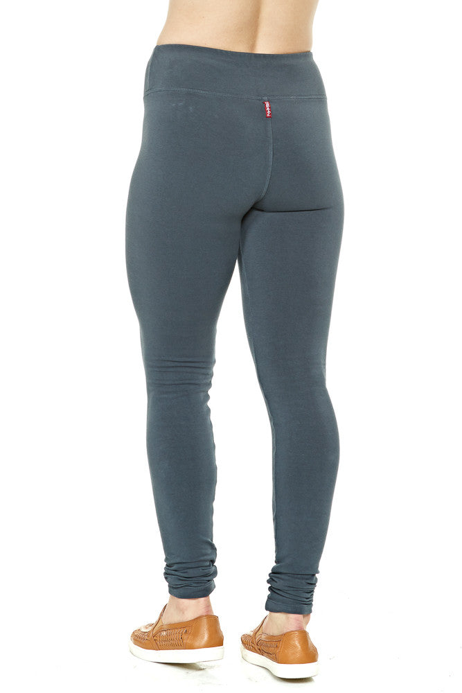 Hard Tail Flat Waist Fleece Ankle Leggings in Dark