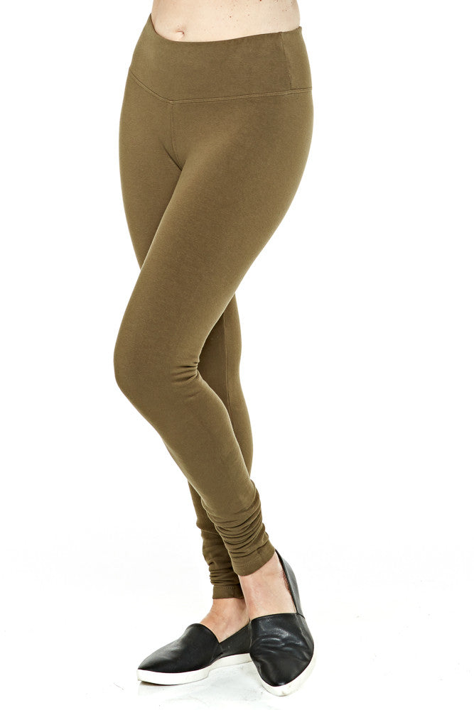 Hard Tail Flat Waist Fleece Ankle Leggings in Woodland