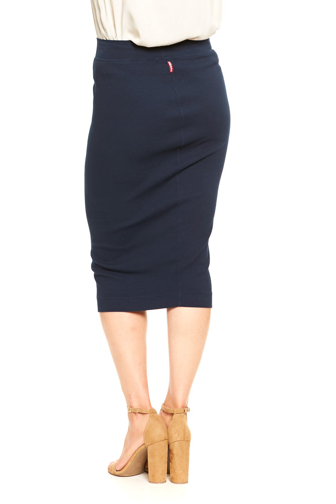 Hard Tail Calf Length Pencil Skirt in Past