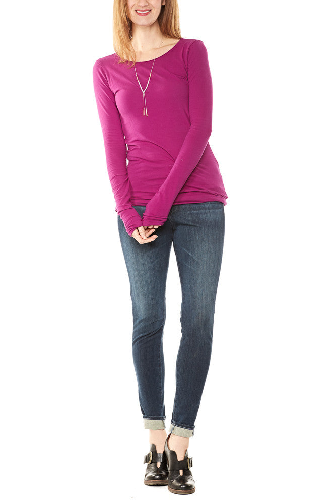 Hard Tail Long Skinny Tee in Berry