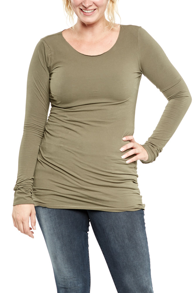 Hard Tail Long Skinny Tee in Olive