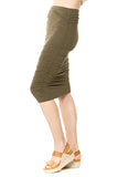 Hard Tail Shirred Poet Skirt in Olive
