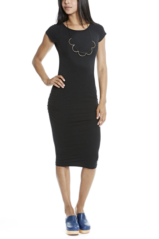 Hard Tail Ruched Cap Sleeve Dress in Black