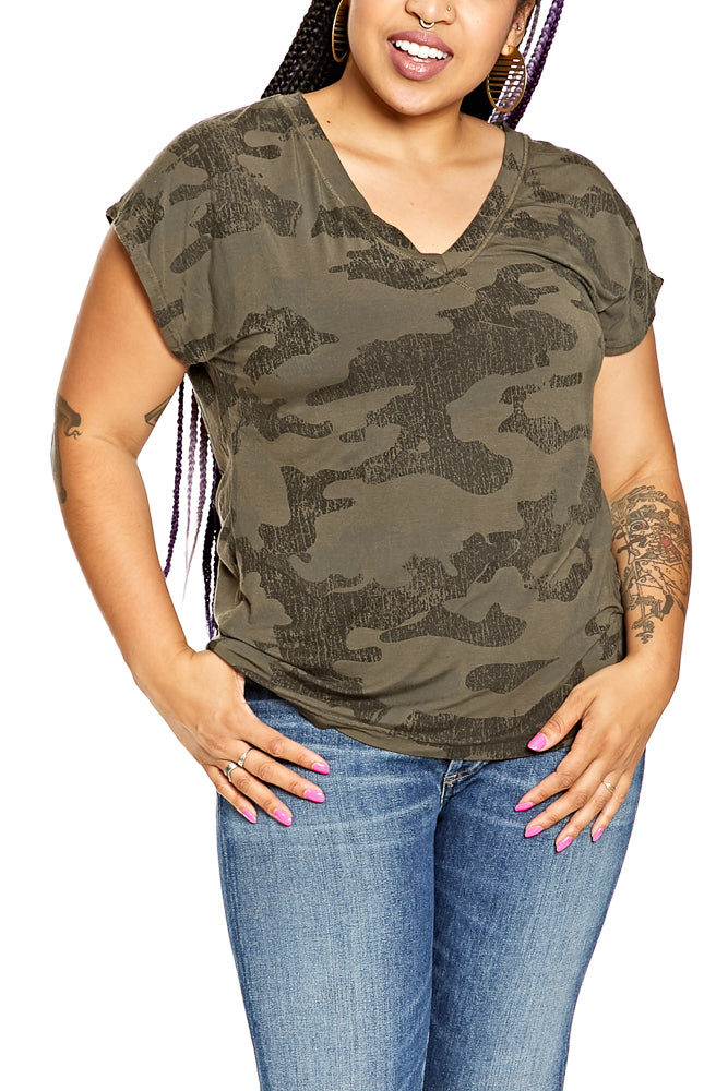 Hard Tail Camo Slouchy V-Neck in Olive