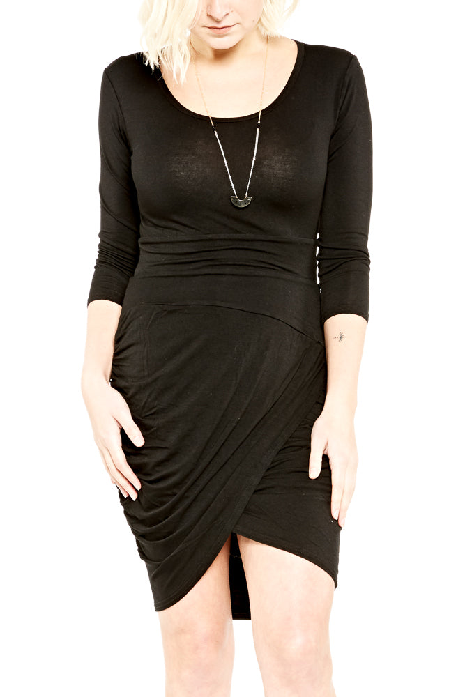 Hard Tail 3/4 Sleeve Dress in Black