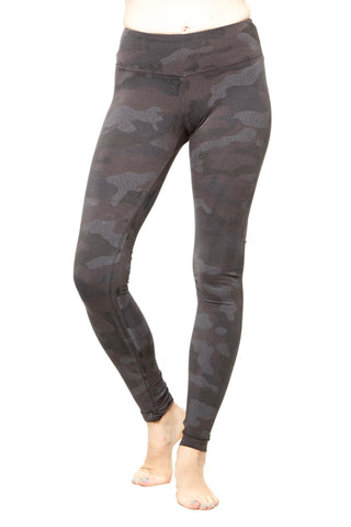 Hard Tail Camo Print Flat Waist Ankle Leggings in Olive