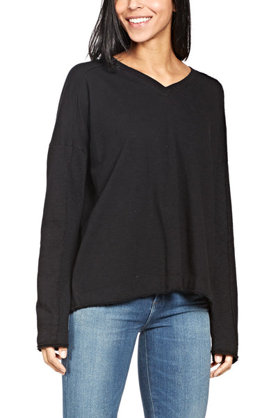 Heather By Bordeaux Rib Panel V-Neck Top in Black