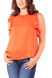 Heather By Bordeaux Florence Silk Frill Sleeve Tank in Papaya