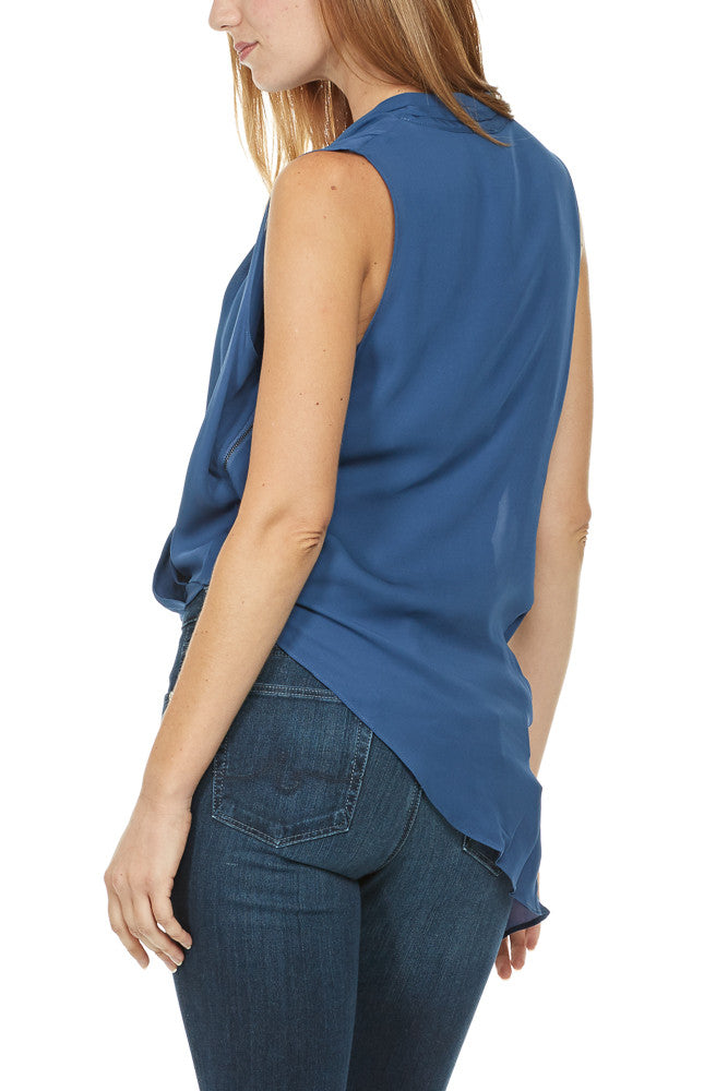 Heather By Bordeaux Silk Side Zip Drape Top in Harbor
