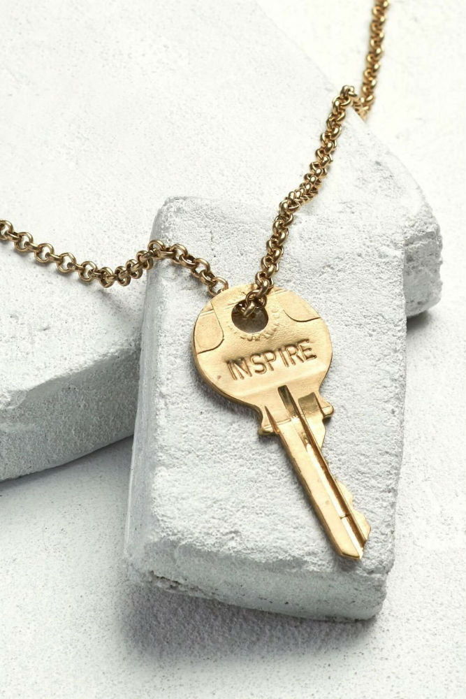 THE GIVING KEYS Classic Key Necklace Inspire Antique Gold