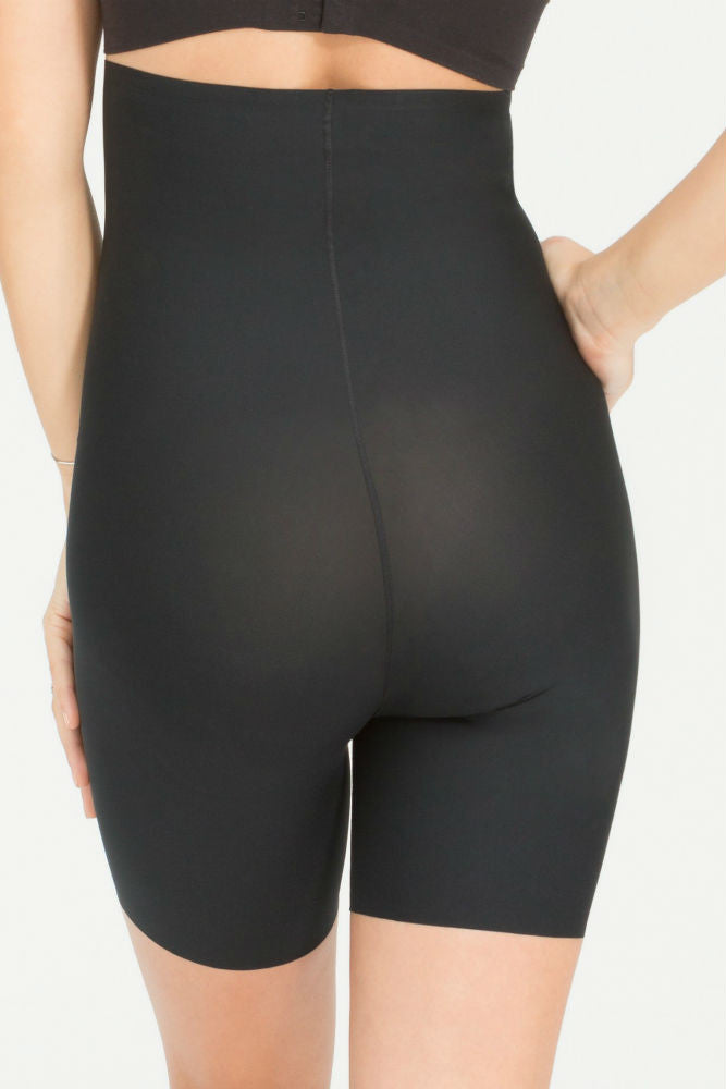 SPANX Thinstincts High Waisted Mid Thigh Short in Very Black