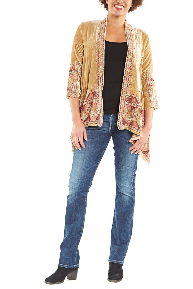 Johnny Was Collection Aspen Velvet Draped Cardigan in Champagne