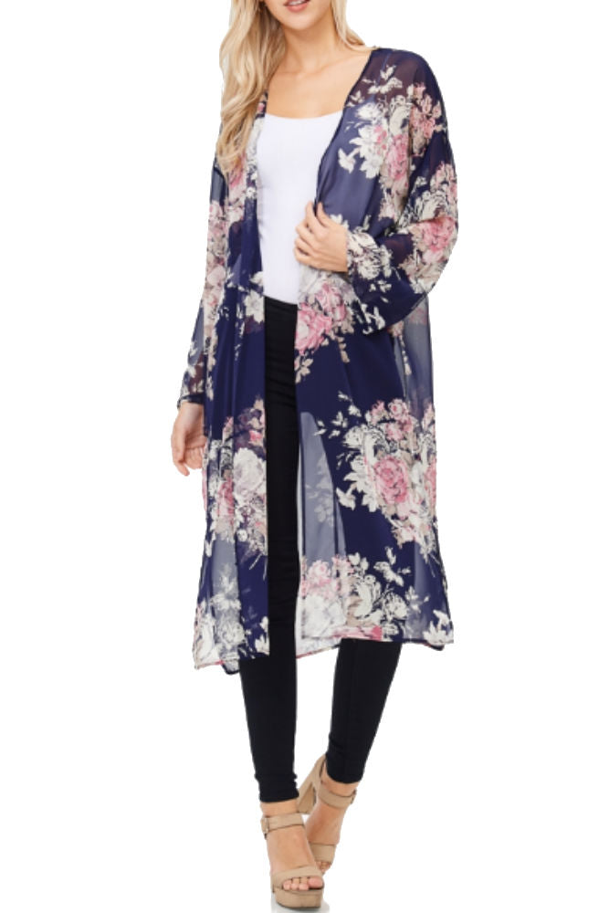 White Birch Long Sleeve Floral Kimono in Navy