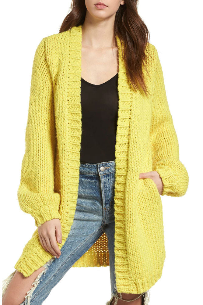 Stone Row Knitastic Cardigan in Citron