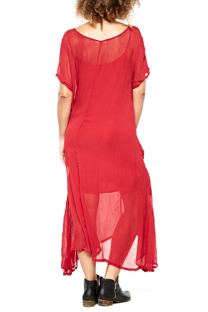 LACAUSA Pleated Factory Dress in Mustang