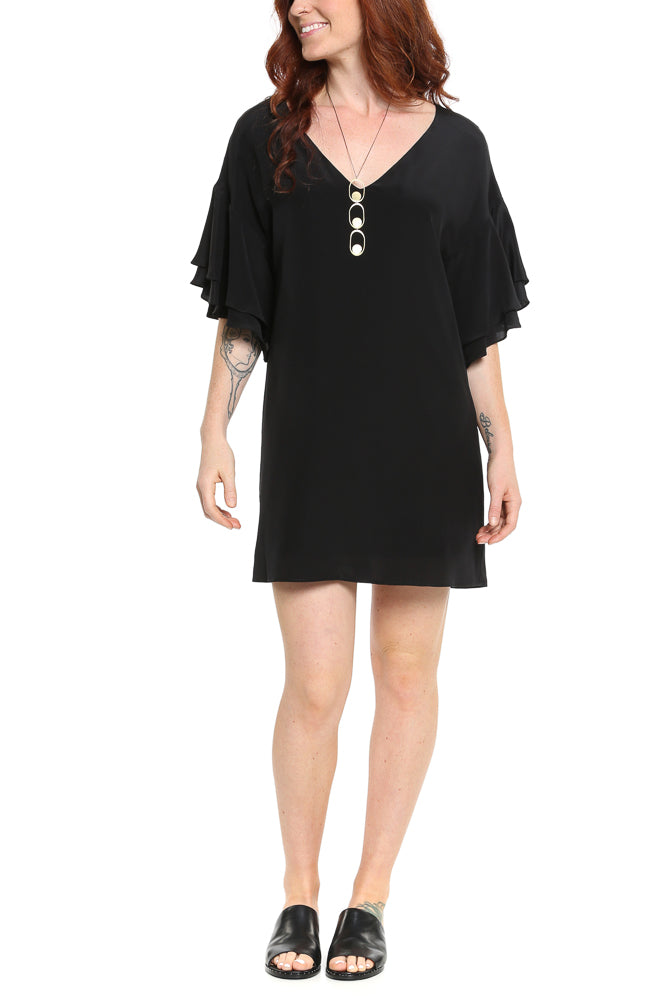 LAVENDER BROWN Ruffle Sleeve Shift Dress in Black